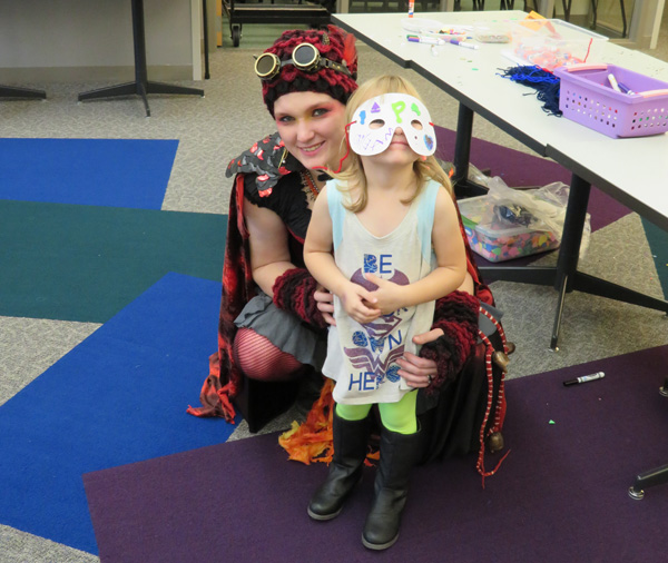 Becky Molyneux and her daughter in costume